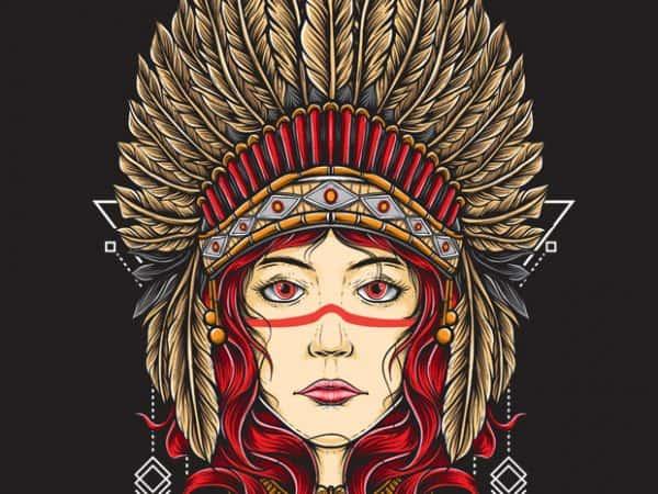 Native Girl T shirt vector artwork