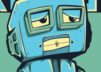 Damn! Robot t shirt vector illustration