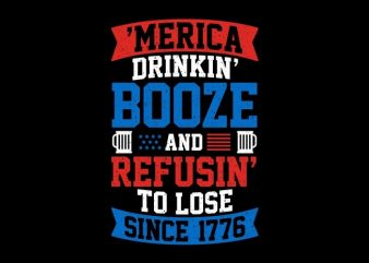 America Drinking Booze buy t shirt design