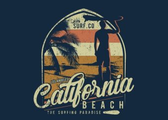 California Beach t shirt vector file