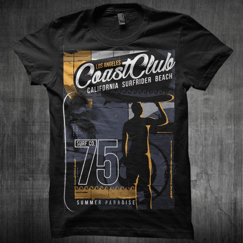 Coast Club California Surfrider buy t shirt design