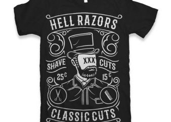 Hell Razors Vector t-shirt design t shirt vector