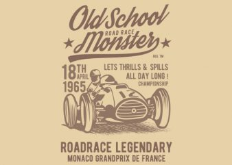 Old School Road Race Monster buy t shirt design