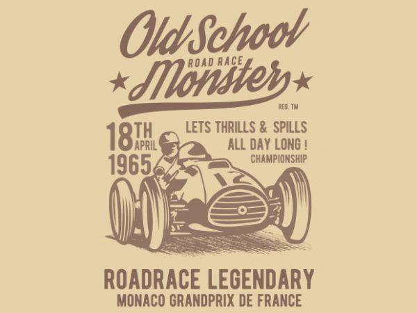 Old School Road Race Monster t shirt design online