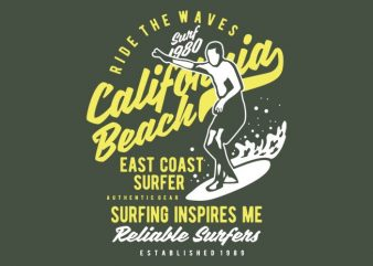 Ride The Waves in California Beach buy t shirt design