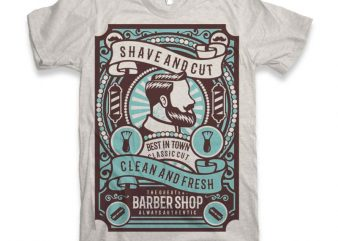 Shave and Cut Graphic tee design buy t shirt design