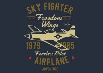 Sky Fighter Fearless Pilot t-shirt design buy t shirt design