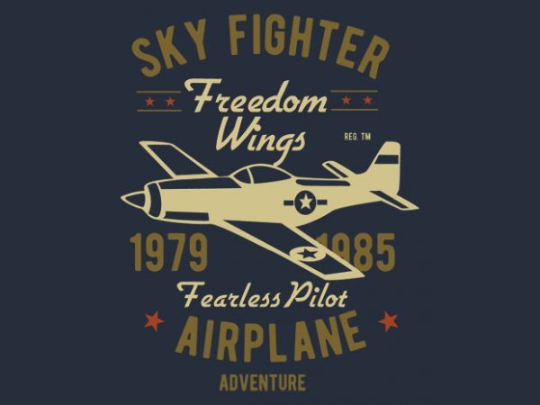Sky Fighter Fearless Pilot t-shirt design