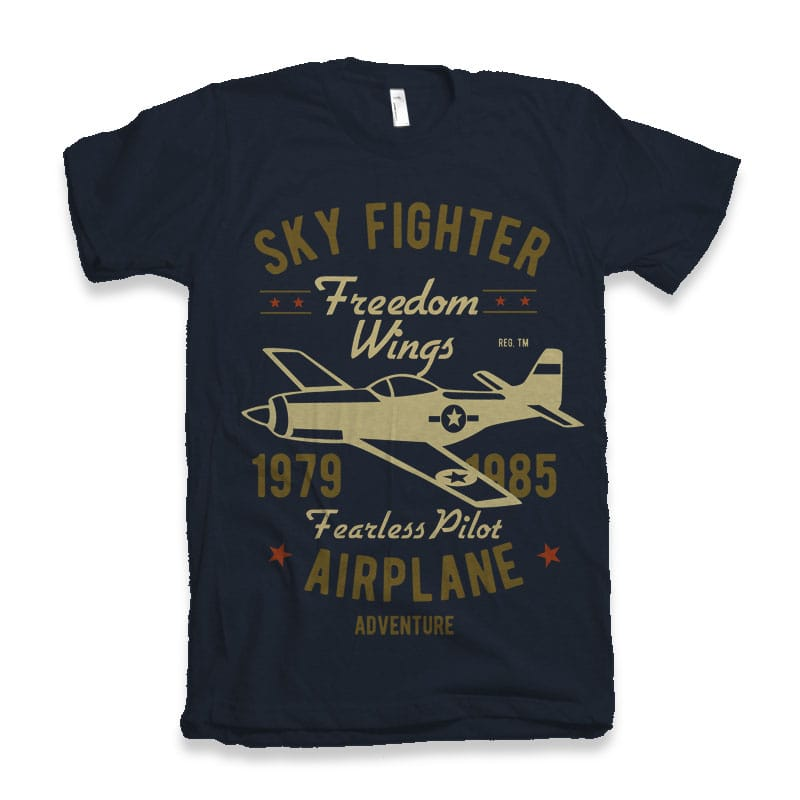 Sky Fighter Fearless Pilot t-shirt design buy t shirt design