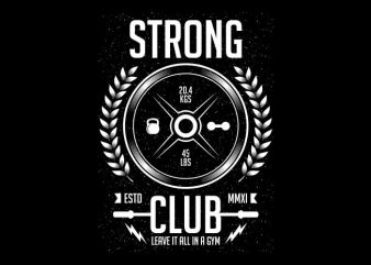 Strong Club t shirt template vector