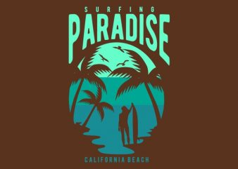 Surfing Paradise California Beach t shirt template vector