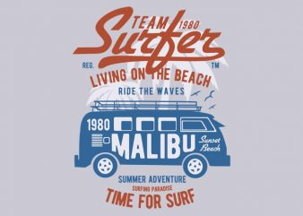 Team Surfer 1980 t-shirt design buy t shirt design