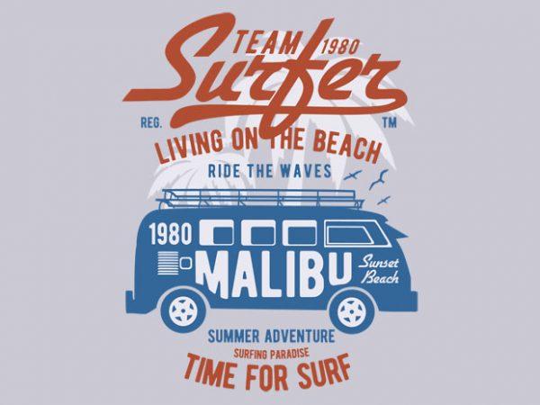 Team Surfer 1980 t-shirt design buy t shirt design