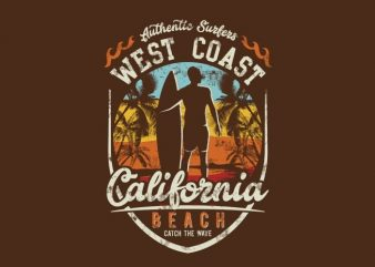 West Coast California Beach buy t shirt design