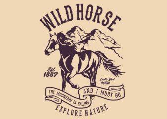 Wild Horse t-shirt design buy t shirt design