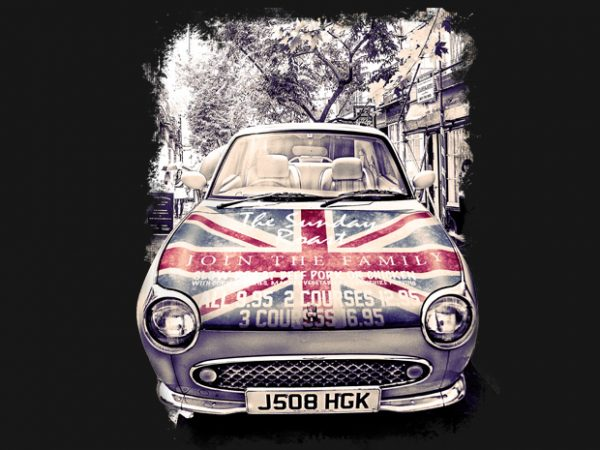 London Car t shirt vector graphic