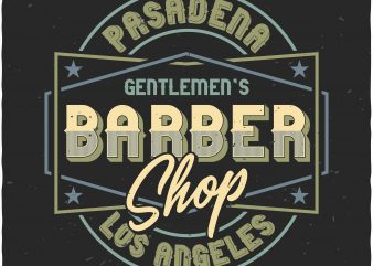 Barber Shop label t shirt template