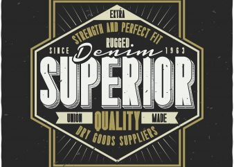 Denim label t shirt vector illustration