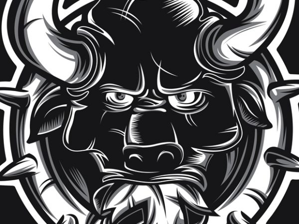 Crazy Bull t shirt vector file