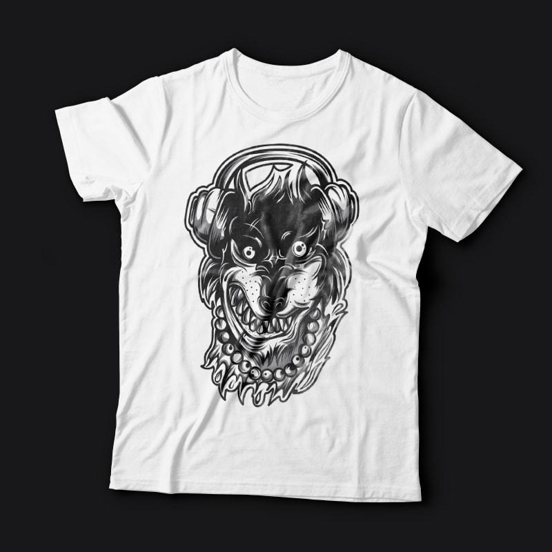Crazy Wolf buy t shirt design