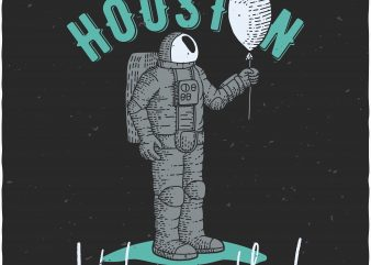 Astronaut with airballoon t shirt vector