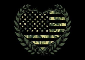 Camo Flag Heart buy t shirt design