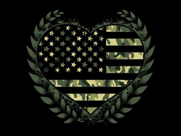 Camo Flag Heart t shirt vector file