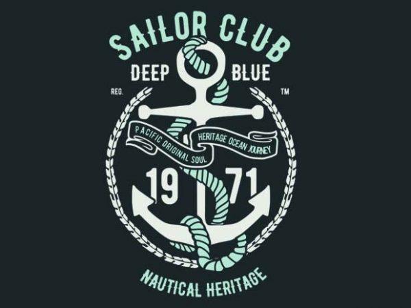 Sailor Club Vector T Shirt Design Best T Shirt Design