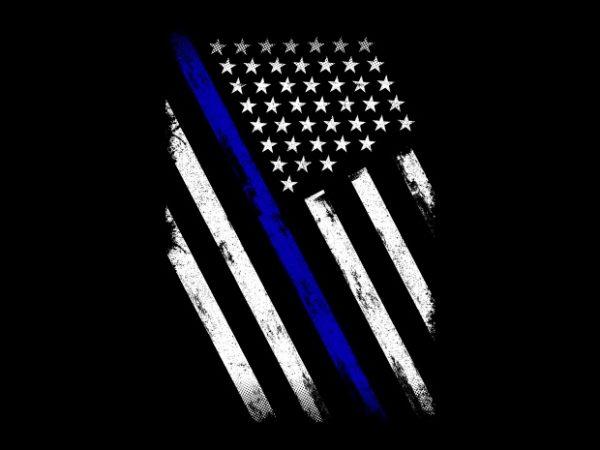 Thin Blue Line Flag t shirt designs for sale