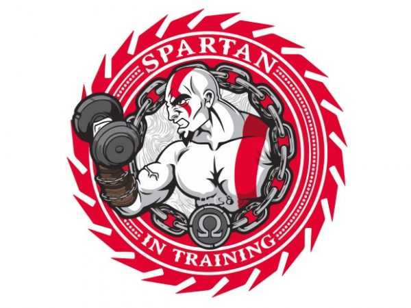 Spartan In Training t shirt template vector
