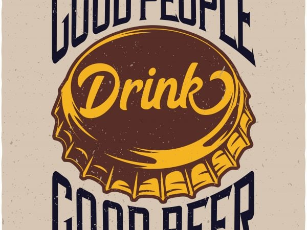 Beer cap t shirt template