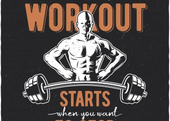 Workout t shirt design for sale