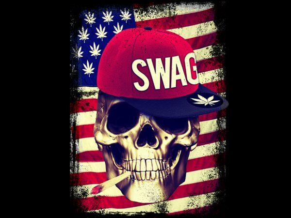 Swag Skull t shirt template vector