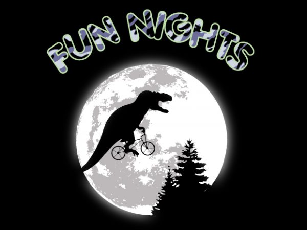 Fun Nights T-Rex t shirt graphic design