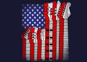 Flag Usa Guitars t shirt graphic design