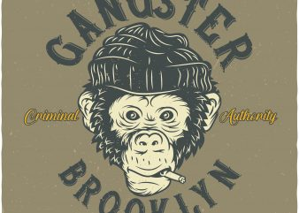 Monkey Gangster buy t shirt design