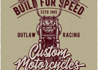 Custom motorcycles t shirt vector file