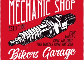 Bikers garage t shirt template