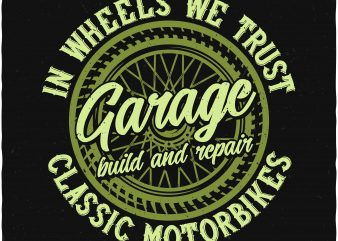 Motorbike garage t shirt designs for sale