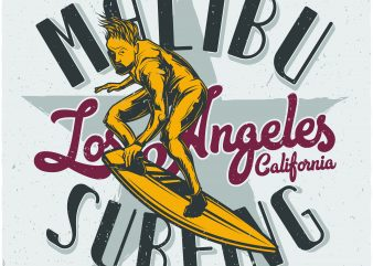 Malibu surfing t shirt designs for sale