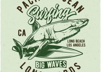 Pacific Ocean surfing t shirt illustration