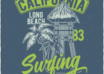 California surfing t shirt vector file