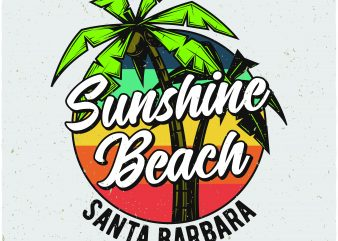 Sunshine Beach t shirt template vector