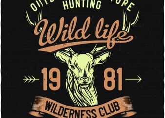 Wild life hunting t shirt design for sale
