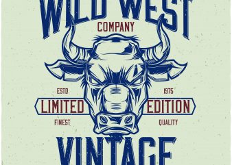 Wild west vintage denim t shirt design for sale