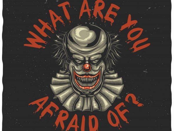 Scary clown t shirt template vector