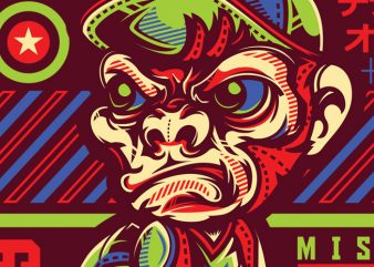 SWG Monkey Boy t shirt template vector