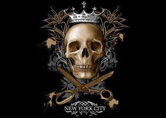Skull Scsisor New York t shirt template vector