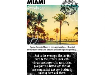 Miami Spring Break t shirt designs for sale