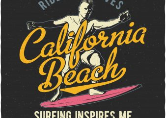 California beach buy t shirt design